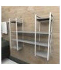 prateleira industrial banheiro aço cor branco 120x30x98cm (c)x(l)x(a) cor mdf cinza modelo ind50cb