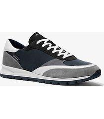 mk sneaker liam in gabardine di nylon e pelle scamosciata - indaco scuro (blu) - michael kors