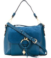 see by chloé suede patchwork tote bag - blue