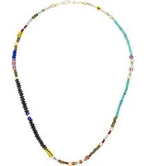 marie lichtenberg 10k yellow gold short beaded necklace