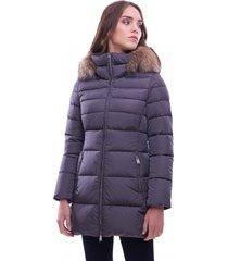 long down jacket with hood edge in fur