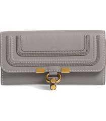 chloe marcie leather flap wallet in cashmere grey at nordstrom