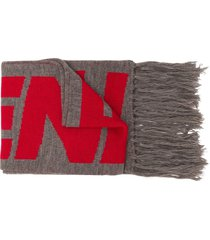 a-cold-wall* fringed intarsia scarf - grey