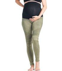 women's preggo leggings moto maternity leggings, size x-large - green