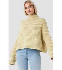 na-kd trend boxy high neck knitted sweater - yellow