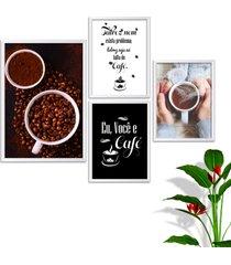 kit conjunto 4 quadro oppen house s frases eu você e café lojas cafeteria xícaras gráos moldura branca decorativo interiores    sem vidro - tricae
