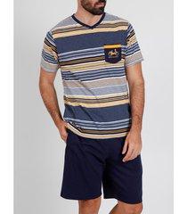 pyjama's / nachthemden admas for men pyjama kort t-shirt rayas mobility admas