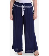 ny collection plus size wide-leg drawstring pants
