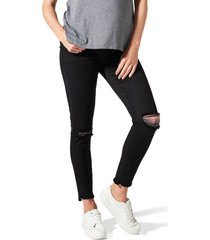 women's blanqi ripped belly support maternity skinny jeans, size 8 - black