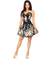 sexy elegant satin black floral embroidered steel boned short corset dress