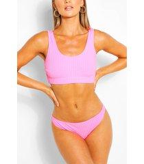 geribde korte bikini, roze