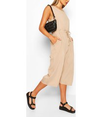 slouchy drawstring waist culotte jumpsuit