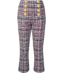 balmain button-front tweed trousers - blue