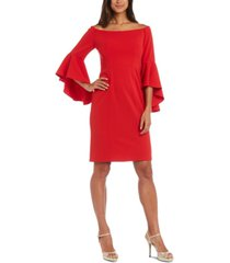 r & m richards bell-sleeve sheath dress