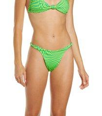 women's frankies bikinis checker print knot strap bikini bottoms, size medium - green
