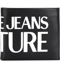 versace jeans couture logo-print bi-fold wallet - black