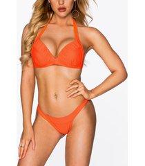 bikini con diseño de dobladillo festoneado sexy naranja