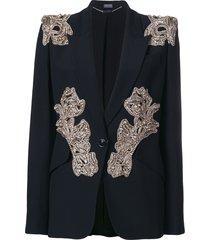 alexander mcqueen bead embellished blazer - black