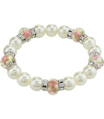 2028 silver tone faux pearl pink flower beaded stretch bracelet