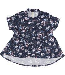 blusa olivia manga corta con miniprint azul oscuro