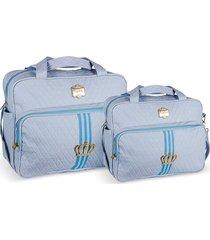 kit bolsas bebê maternidade princess coroa azul claro  2 peças griff - tricae