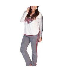 pijama feminino podiun 215161 mescla branco/marinho