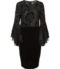 badgley mischka lace ruffle sleeve cocktail dress - black