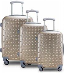 conjunto de mala de viagem 3 peças p, m e g love jacki design viagem dourado