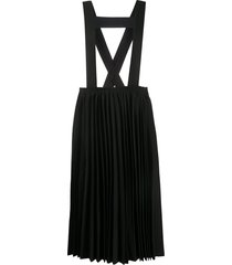 black comme des garçons suspender-strap pleated skirt