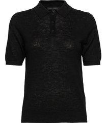 linen-blend sweater polo t-shirts & tops knitted t-shirts/tops zwart banana republic
