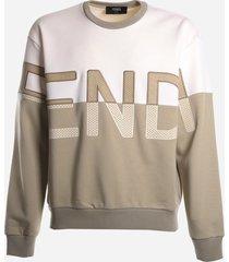 fendi oversized cotton blend sweatshirt with embroidered logo