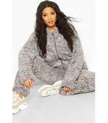 borg zip through oversized hoodie, grey