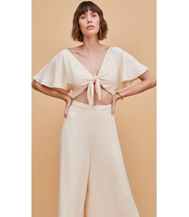 champagne relaxed tie-front flutter sleeve jumpsuit