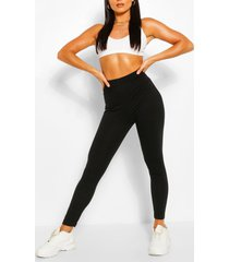 basic high waist ankle grazer legging, black
