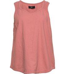 top cotton plus v neck smocking blus ärmlös rosa zizzi