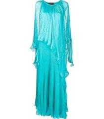 irina schrotter micro pleat gown - blue