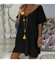 zanzea vestido de encaje de ganchillo para mujer fiesta de cóctel de noche mini vestido de verano -negro