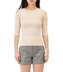 women's maje ribbed cutout back crewneck sweater, size 2 - beige