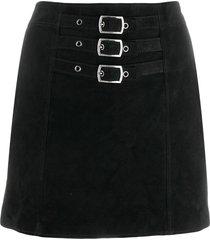 saint laurent buckle-embellished mini skirt - black