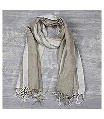 men's linen blend scarf, 'sleek stripes in khaki' (india)
