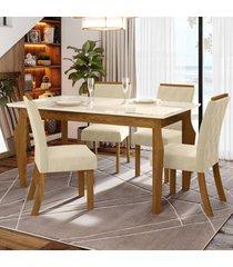 mesa de jantar 4 lugares maristela nature/off white/linho - bci móveis