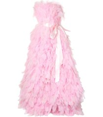 isabel sanchis full plume strapless gown - pink