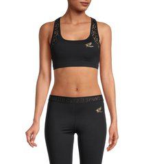 roberto cavalli sport women's crochet-back sports bra - black - size s