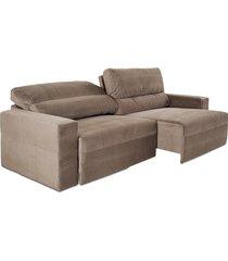 sofá 3 lugares herval village, retrátil e reclinável, camurça animale marrom