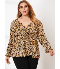 talla grande con cuello en v y lazo de leopardo diseño abrigo diseño blusa de manga larga