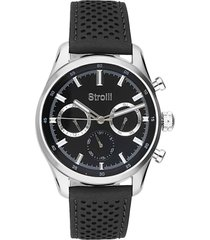 orologio multifunzione con cinturino in pelle nero, cassa in acciaio silver per uomo