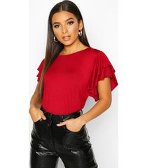 ruffle sleeve detail t-shirt, wine