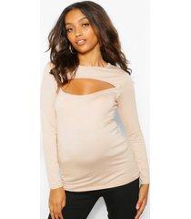 maternity cut out detail long sleeve t-shirt, camel