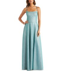 morgan & company juniors' lace-up glitter gown