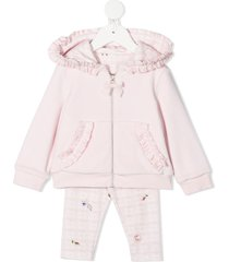 lapin house ruffle-trim hooded tracksuit set - pink
